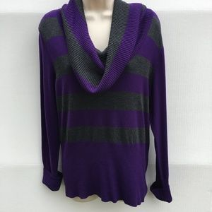 Apt.9 women's large purple striped cowl sweater